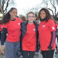 Christine Kelly, Françoise Laborde et Laura Flessel, complices, ont participé à un flashmob pour soutenir la place des femmes dans le sport et leur représentation dans les médias, le 1er février 2014 à Paris.