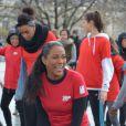 Christine Kelly à un flashmob pour soutenir la place des femmes dans le sport et leur représentation dans les médias, le 1er février 2014 à Paris.
