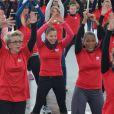 Christine Kelly, Françoise Laborde et Laura Flessel ont participé à un flashmob pour soutenir la place des femmes dans le sport et leur représentation dans les médias, le 1er février 2014 à Paris.