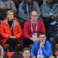 Le prince Albert II de Monaco a suivi avec Corinna zu Sayn-Wittgenstein, le 8 février 2014 aux JO de Sotchi, l'épreuve du 5 000 mètres en patinage de vitesse.