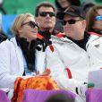 Le prince Albert II et son épouse la princesse Charlene de Monaco ont assisté à l'épreuve de descente au matin du 9 février 2014 lors des Jeux olympiques de Sotchi, en Russie.
