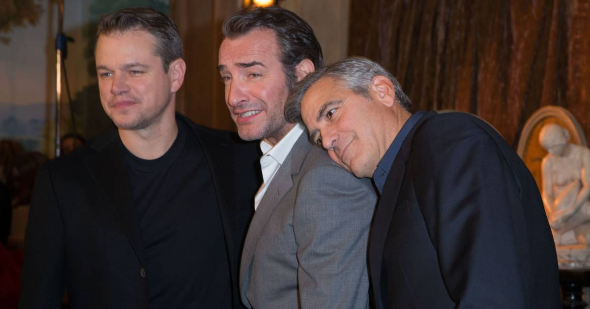 Jean dujardin radieux il affiche sa complicit avec son - Jean dujardin et george clooney ...