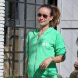 Olivia Wilde, enceinte, se balade à West Hollywood. Le 21 février 2014.