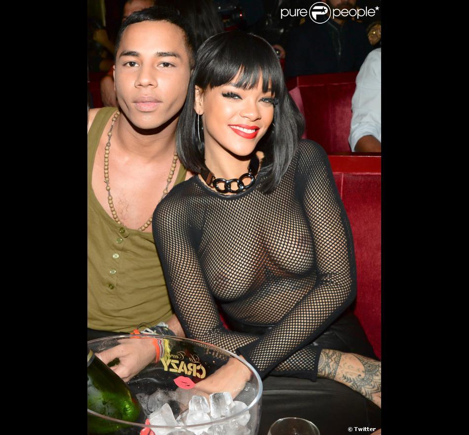 Olivier Rousteing et Rihanna lors de l'after-show Balmain au Crazy Horse. Paris, le 27 février 2014.