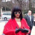 Rihanna se rend au au défilé de mode Christian Dior prêt-à-porter automne-hiver 2014-2015 au musée Rodin. Paris, le 28 février 2014.