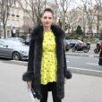 Frédérique Belarrive au Palais de Tokyo pour assister au défilé John Galliano automne-hiver 2014-2015. Paris, le 2 mars 2014.