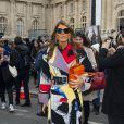 Anna Dello Russoarrive au Grand Palais pour assister au défilé Chloé. Paris, le 2 mars 2014.
