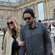 Dree Hemingway et son petit ami Phil Winser arrivent au Grand Palais pour assister au défilé Chloé. Paris, le 2 mars 2014.