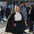 La princesse Sirwanwaree de Thaïlande le 5 mars 2014 au Louvre au premier rang du défilé Louis Vuitton, le premier signé Nicolas Ghesquière, lors de la Fashion Week prêt-à-porter automne-hiver 2014-2015 de Paris.