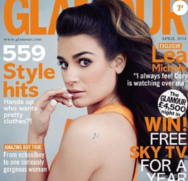 Lea Michele en couverture de Glamour UK, édition d'avril 2014.