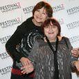 Macha Méril et Agnès Varda lors du photocall de la cérémonie de clôture du Festival 2 cinéma de Valenciennes au Gaumont Valenciennes le 22 mars 2014