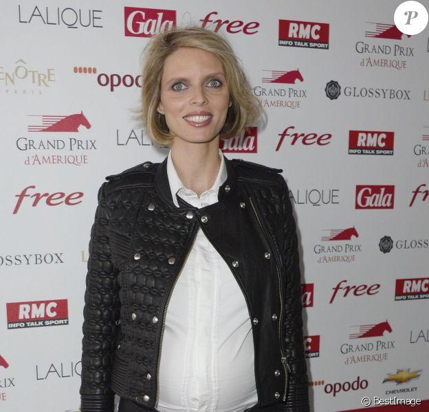 Sylvie Tellier enceinte lors du 93e Grand Prix d'Amérique à l'Hippodrome de Vincennes, le 26 janvier 2014