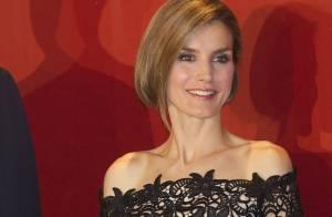 Letizia d'Espagne : Cheveux au carré et dentelle, beauté choc au bras de Felipe