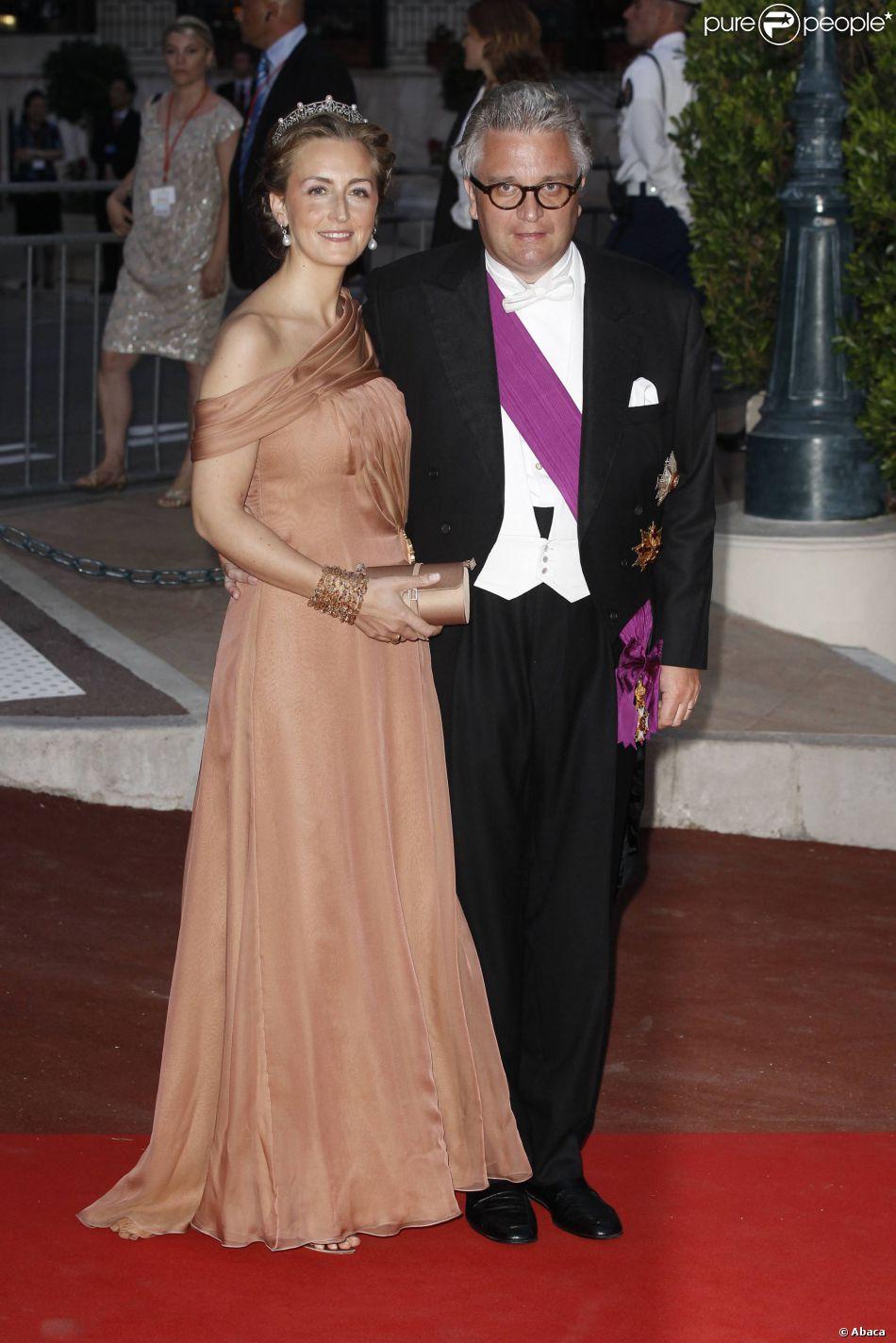 Claire et Laurent de Belgique au dîner du mariage d'Albert et Charlene de Monaco en juillet 2011