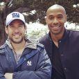 """Ronda Rousey, Doug Ellin et Thierry Henry sur le tournage du film """"Entourage"""" - avril 2014."""