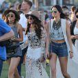 Kendall Jenner, Kylie Jenner, Selena Gomez lors du 1er jour du Festival de Coachella à Indio, le 11 avril 2014.