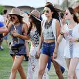 Kendall Jenner, Selena Gomez et Kylie Jenner lors du 1er jour du Festival de Coachella à Indio, le 11 avril 2014.