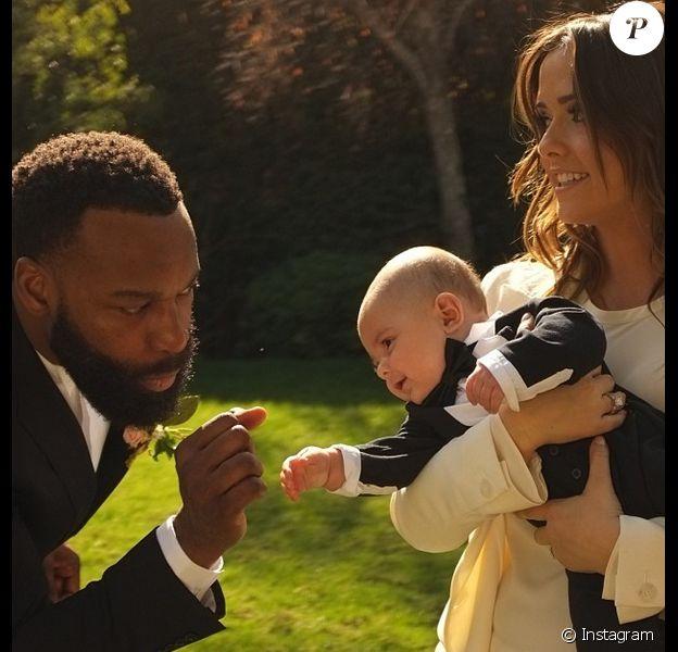 Isabella Brewster lors de son mariage avec Baron Davis aux côtés du petit Julian, le fils de sa soeur Jordana - janvier 2014