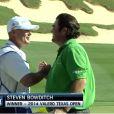 Steven Bowditch, tout heureux après sa victoire sur le PGA Tour, au Texas Open, le 30 mars 2014