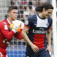 Edinson Cavani lors du match opposant le PSG Evian Thonon-Gaillard au Parc des Princes à Paris le 23 avril 2014.
