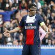 Thiago Silva lors du match opposant le PSG Evian Thonon-Gaillard au Parc des Princes à Paris le 23 avril 2014.