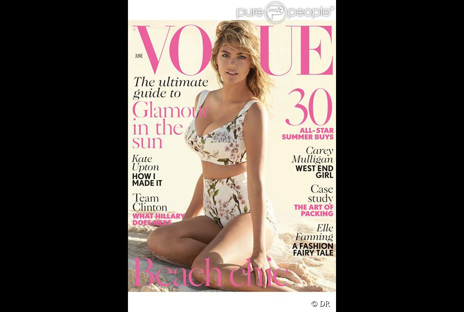 Kate Upton en couverture du magazine Vogue British. Juin 2014.