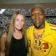 Djibril Cissé et son épouse Jude à Roland-Garros à Paris, le 3 juin 2006
