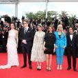"""Carole Bouquet, Nicolas Winding Refn, Leila Hatami, Sofia Coppola, Jane Campion, Gaël Garcia Bernal, Jia Zhangke, Jeon Do-yeon et Willem Dafoe (Jury) - Montée des marches du film """"Grace de Monaco"""" pour l'ouverture du 67 ème Festival du film de Cannes le 14 mai 2014"""