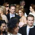 """Geri Halliwell et son compagnon Christian Horner lors du mariage de Poppy Delevingne et de James Cook en l'église de """"St Paul's"""" à Londres, le 16 mai 2014."""