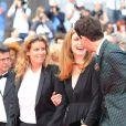 Lisa Azuelos , Julie Gayet et Mika   lors de la montée des marches du film Saint Laurent et l'hommage au cinéma d'animation au Festival de Cannes le 17 mai 2014