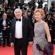 Michel Piccoli   lors de la montée des marches du film Saint Laurent et l'hommage au cinéma d'animation au Festival de Cannes le 17 mai 2014
