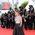 Catherine Frot   lors de la montée des marches du film Saint Laurent et l'hommage au cinéma d'animation au Festival de Cannes le 17 mai 2014