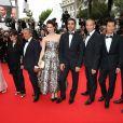 """Guest, Isabelle De Araujo (Bijoux APM Monaco), Chantal Lauby, Christian Clavier, Frédérique Bel, Ary Abittan, Medi Sadoun, Frédéric Chau et Noom Diawara - Montée des marches du film """"Jimmy's Hall"""" lors du 67e Festival du film de Cannes le 22 mai 2014"""