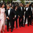 """Isabelle De Araujo (Bijoux APM Monaco), Christian Clavier, Chantal Lauby, Ary Abittan, Medi Sadoun, Noom Diawara - Montée des marches du film """"Jimmy's Hall"""" lors du 67e Festival du film de Cannes le 22 mai 2014"""