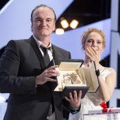 Quentin Tarantino gominé et transformé à Cannes, avec sa ''mariée'' Uma Thurman