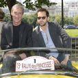 Francois Levantal et Frédéric Diefenthal - 15 ème Rallye des Princesses à Paris - Journée des vérifications des voitures, Esplanade des Invalides. Paris, le 31 mai 2014