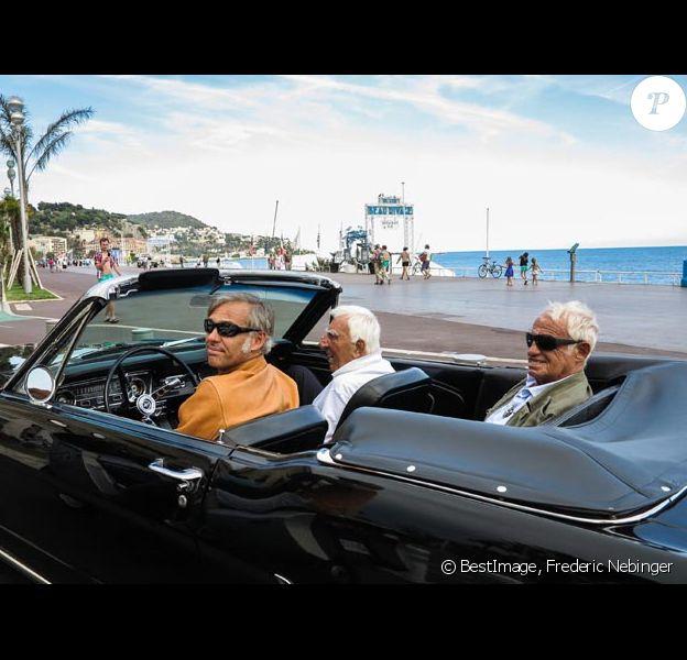 Exclusif : Jean-Paul Belmondo, son fils Paul, Charles Gérard en tournage aux studios de la Victorine à Nice le 3 juin 2014 pour le documentaire Belmondo par Belmondo pour TF1.