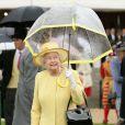 La reine Elizabeth II avait choisi une tenue jaune primevère pour ensoleillé la pluvieuse troisième garden party qu'elle donnait à Buckingham Palace le 3 juin 2014.