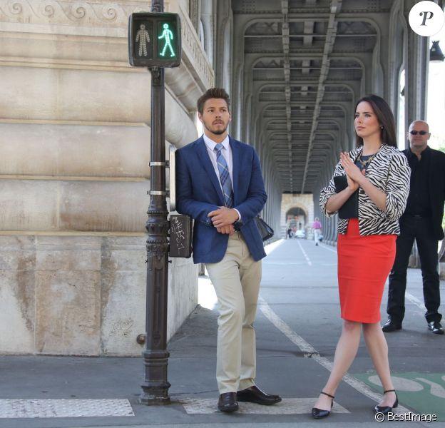 """Exclusif - Scott Clifton et Ashleigh Brewer - Tournage de la série """"Amour, Gloire et beauté"""" pour fêter les 25 ans de diffusion sur France 2 à Paris le 12 juin 2014."""