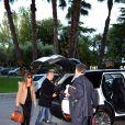 Carla Bruni et son mari Nicolas Sarkozy arrivent à Barcelone en Espagne le 18 juin 2014. Carla doit donné le dernier concert de sa tournée le 19 juin dans les jardins du Palau Reial de Pedralbes dans le cadre d'un festival.
