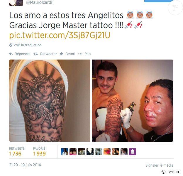 Mauro Icardi se fait tatouer les prénoms des enfants de sa femme Wanda et Maxi Lopez, son ancien coéquipier et ami - juin 2014