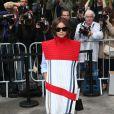 Miroslava Duma arrive au Grand Palais pour assister au défilé haute couture Chanel. Paris, le 8 juillet 2014.