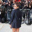 Nina Dobrev arrive au Grand Palais pour assister au défilé haute couture Chanel. Paris, le 8 juillet 2014.