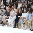 Kristen Stewart, Isabelle Huppert, Alma Jodorowsky, Jared Leto, Alice Dellal et Poppy Delevingne au premier rang du défilé Chanel haute couture au Grand Palais. Paris, le 8 juillet 2014.