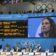Camille Muffat lors de son titre olympique sur 400 m nage libre aux JO de Londres le 29 juillet 2012. La nageuse a annoncé le 12 juillet 2014, dans L'Equipe, sa retraite sportive, à 25 ans seulement.