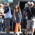 Jordana Brewster avec le frère de Paul Walker, Cody, sur le tournage de Fast & Furious 7 à Los Angeles, le 4 juin 2014