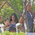 Jordana Brewster avec Vin Diesel sur le tournage de Fast & Furious 7 à Los Angeles, le 2 juin 2014
