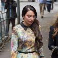 Tulisa Contostavlos, inculpée de trafic de cocaïne, le 15 juillet 2014 à son arrivée au tribunal de Southwark à Londres pour son procès.
