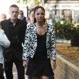 Tulisa Contostavlos, inculpée de trafic de cocaïne, le 16 juillet 2014 à son arrivée au tribunal de Southwark à Londres pour son procès.