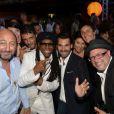 Kad Merad, Pascal Elbé, Niel Rogers et Antoine Chevanne le jeudi 17 juillet 2014, à la soirée annuelle du célèbre Byblos, à Saint-Tropez.